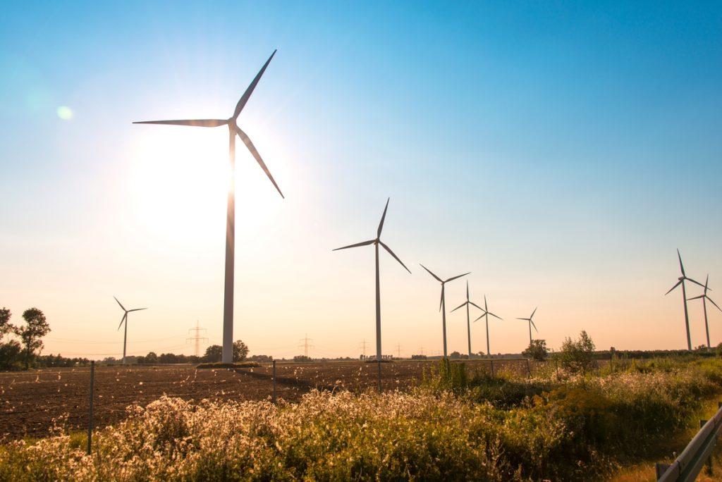 Windfarm and sun