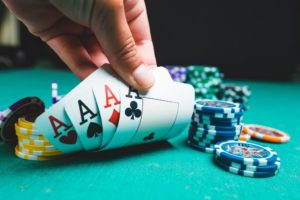 Poker chips and cards on a casino table