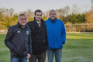 L-R club chairman Colin Routledge, director at Harrison Drury Simon England and club treasurer John Mansford