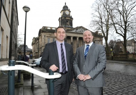L-R Harrison Drury's John Chesworth and Brett Cooper outside the firm's new Lancaster offices